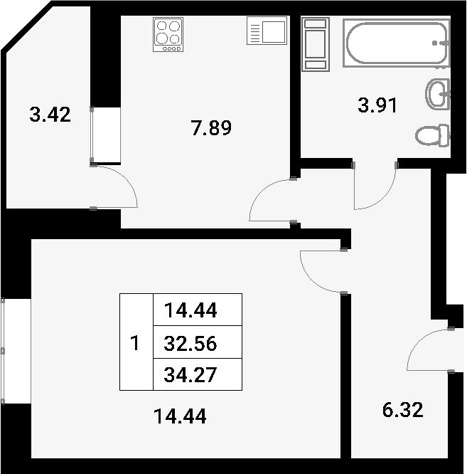1-к.кв, 35.98 м²