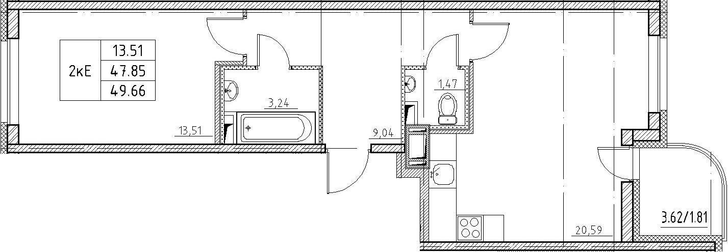 2-к.кв (евро), 51.47 м²