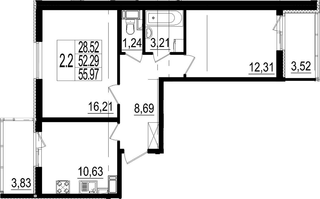 2-комнатная, 55.97 м²– 2