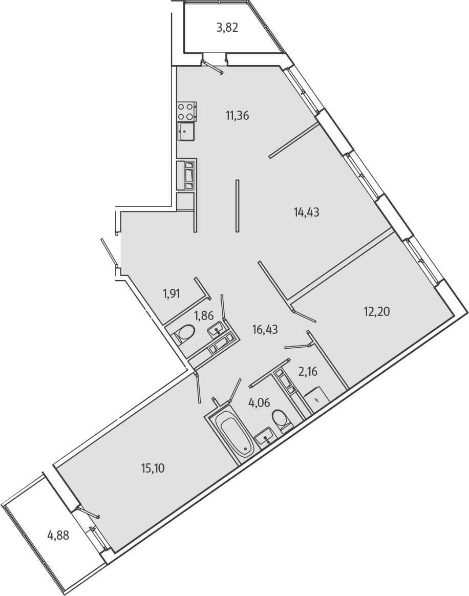 3-к.кв, 83.86 м², 2 этаж