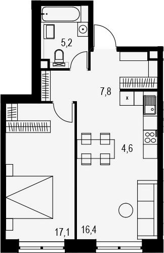 2Е-к.кв, 51.1 м²