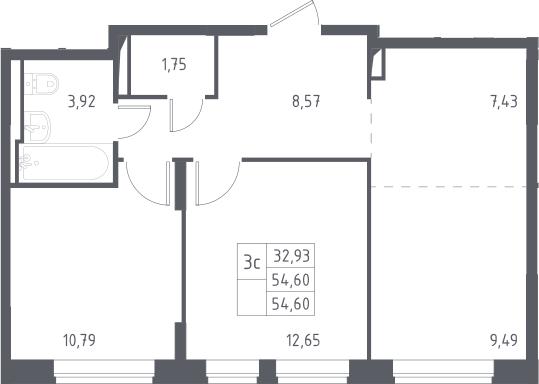 3Е-к.кв, 54.6 м²