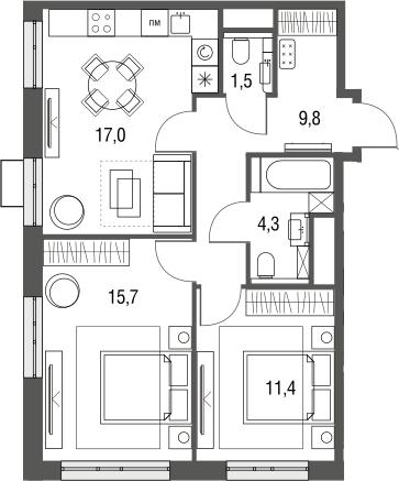 3Е-к.кв, 59.7 м², 2 этаж