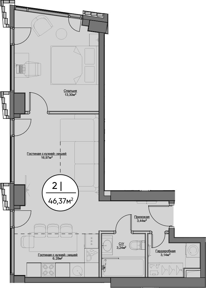2-к.кв (евро), 46.37 м²