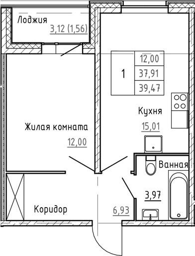 2Е-к.кв, 39.47 м², 1 этаж