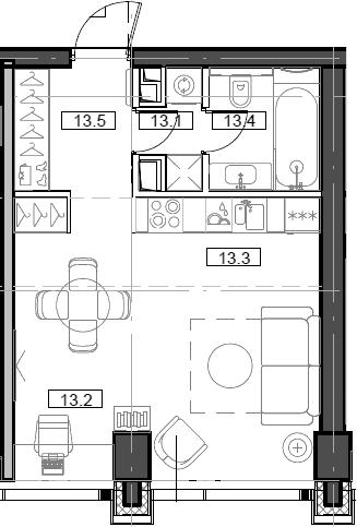 Студия, 34.28 м²– 2