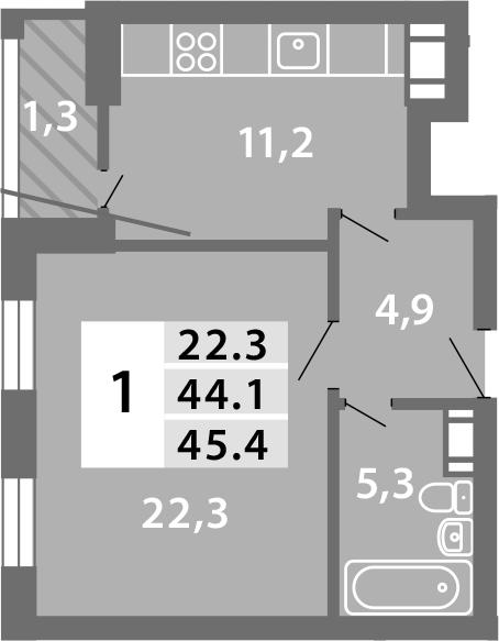 1-к.кв, 44.78 м²