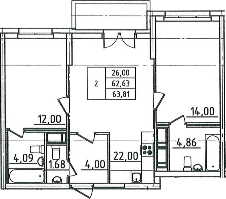 3Е-к.кв, 63.81 м², 12 этаж