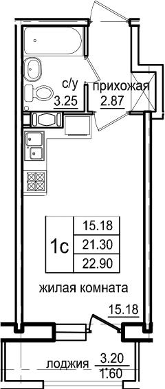 Студия, 22.9 м², 5 этаж