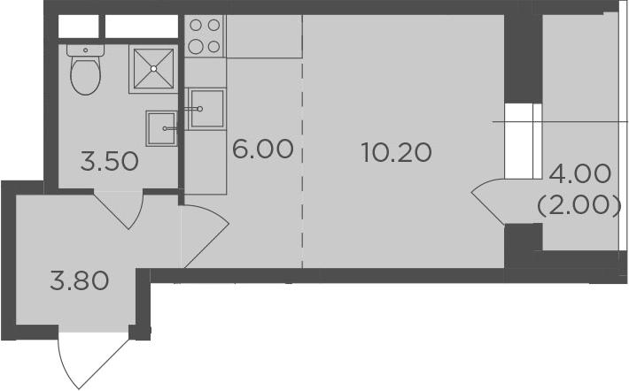 Студия, 25.5 м², от 2 этажа