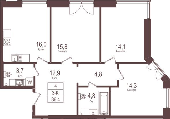 3-комнатная, 86.4 м²– 2