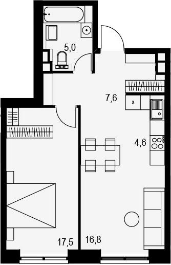 2Е-комнатная, 51.5 м²– 2