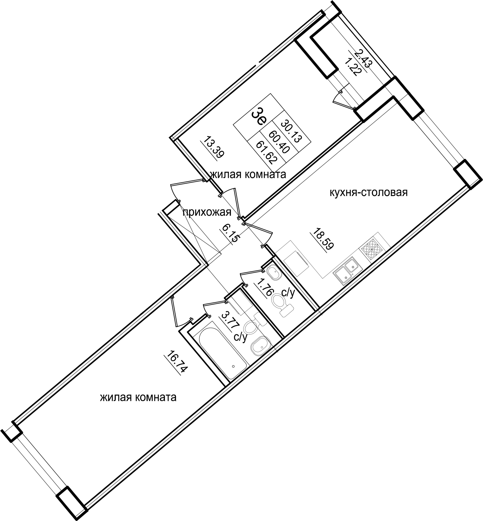 3Е-к.кв, 61.62 м²