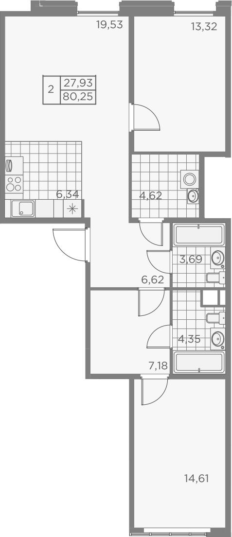 3Е-к.кв, 80.26 м², 2 этаж