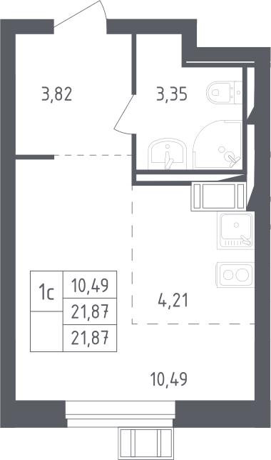 Студия, 21.87 м², 13 этаж