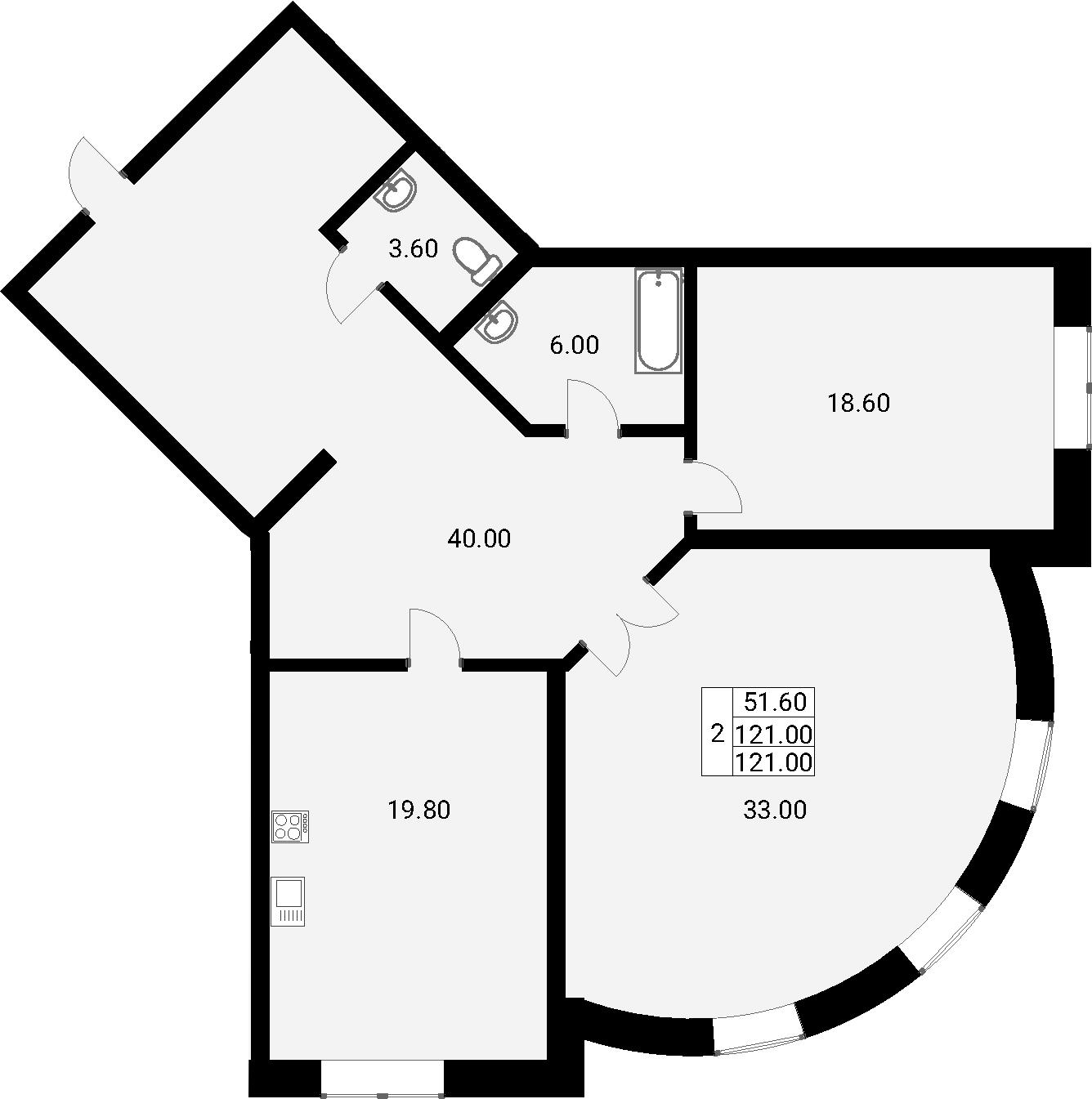 3-к.кв (евро), 121 м²