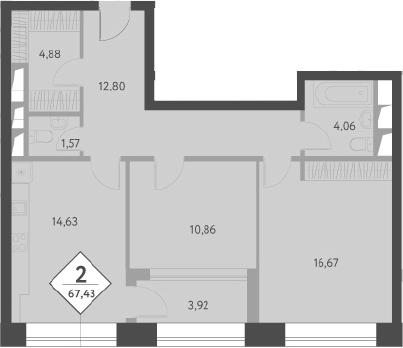 2-к.кв, 70.33 м²