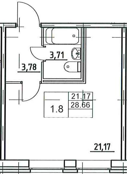 Студия, 28.66 м²– 2