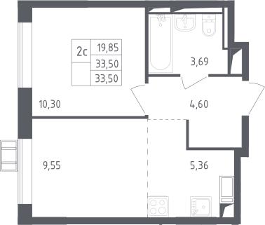 2Е-к.кв, 33.5 м², 17 этаж