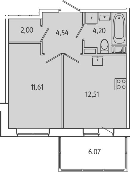 1-комнатная, 36.68 м²– 2