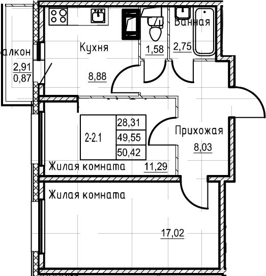 2-к.кв, 50.42 м²