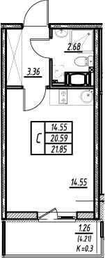 Студия, 20.59 м²