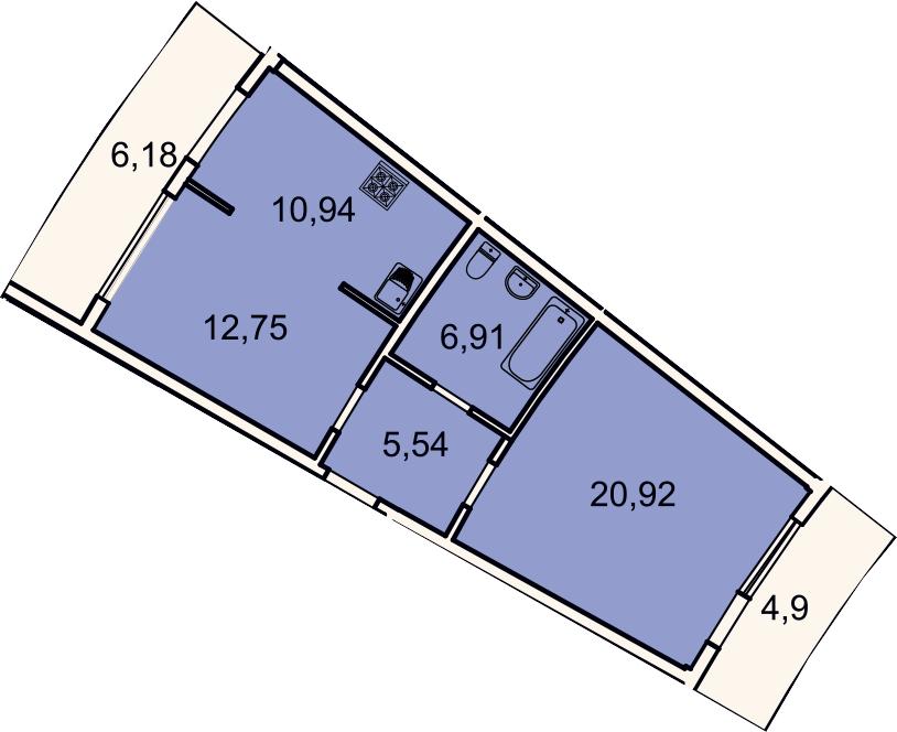 2-к.кв, 60.4 м², 2 этаж
