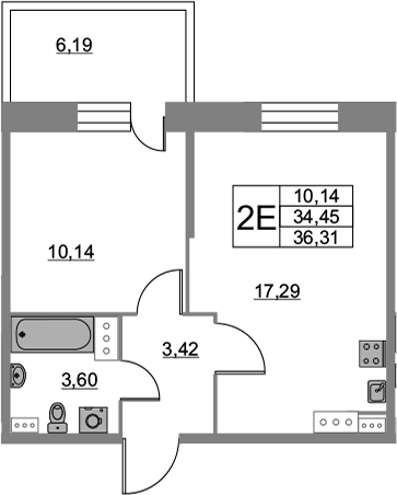 2Е-комнатная квартира, 36.31 м², 5 этаж – Планировка