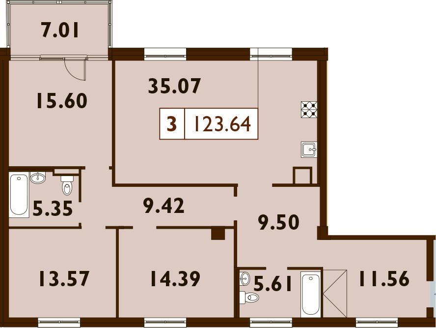 4Е-к.кв, 123.64 м²