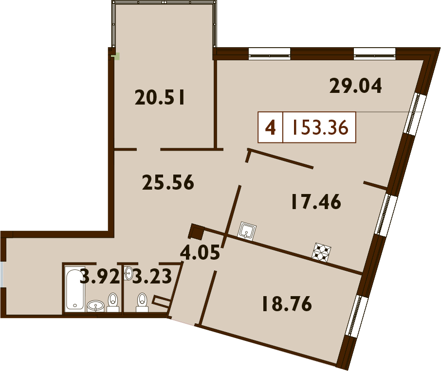 5Е-к.кв, 153.36 м²