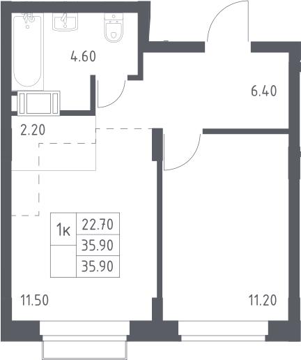 2Е-к.кв, 35.9 м², 9 этаж