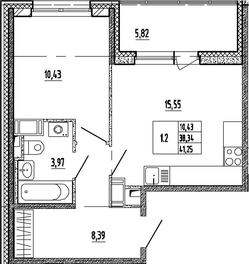 2Е-к.кв, 38.34 м²
