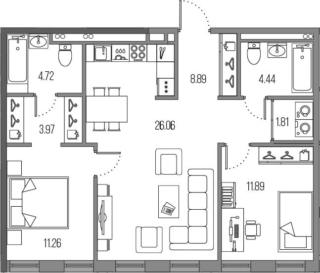 3Е-к.кв, 73.04 м²