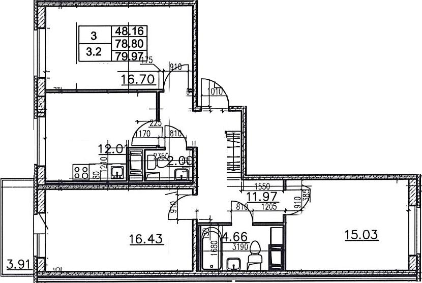 3-к.кв, 82.71 м²