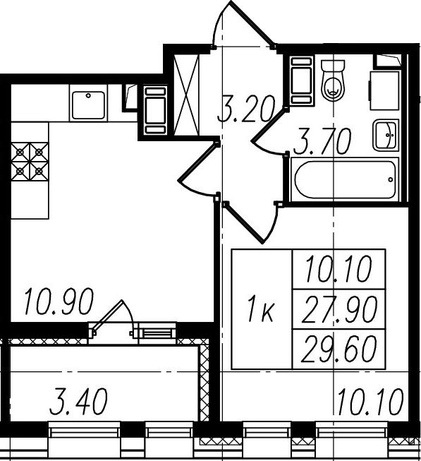 1-к.кв, 31.3 м²
