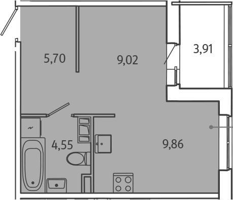 1-к.кв, 31.09 м², от 3 этажа