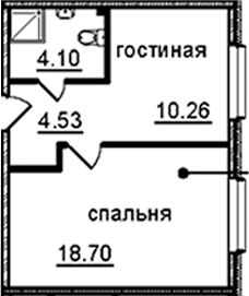 1-комнатная квартира, 37.59 м², 10 этаж – Планировка