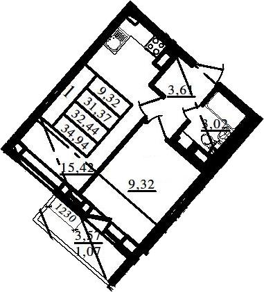 2Е-к.кв, 31.37 м², 7 этаж