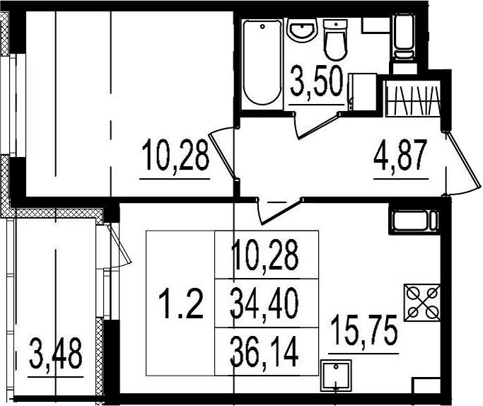 2Е-к.кв, 34.4 м², 2 этаж