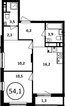 3Е-комнатная, 54.1 м²– 2