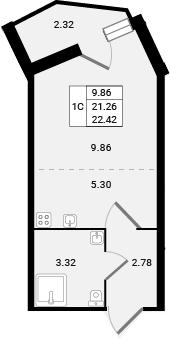 Студия, 22.42 м²– 2