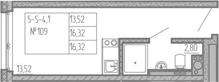 Студия, 16.32 м²– 2