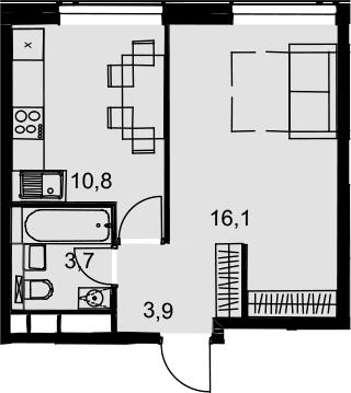 1-комнатная, 34.5 м²– 2
