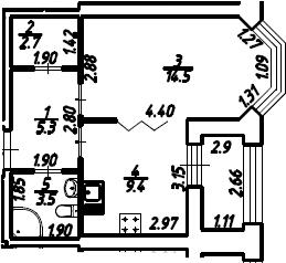 1-к.кв, 36.9 м², 2 этаж