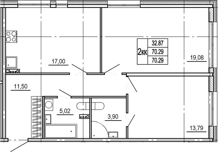 3Е-комнатная, 70.29 м²– 2