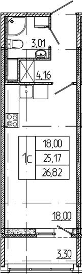 Студия, 25.17 м²