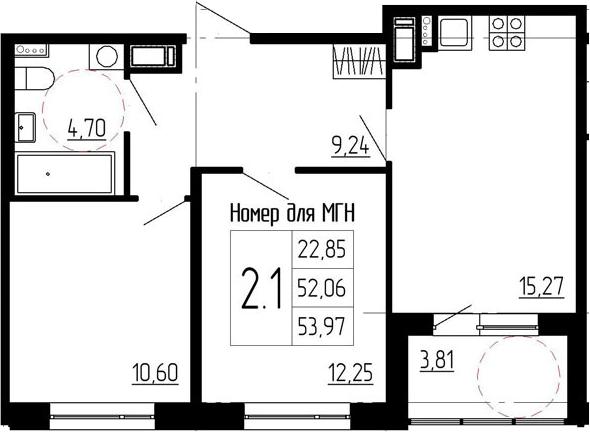 3-к.кв (евро), 55.87 м²