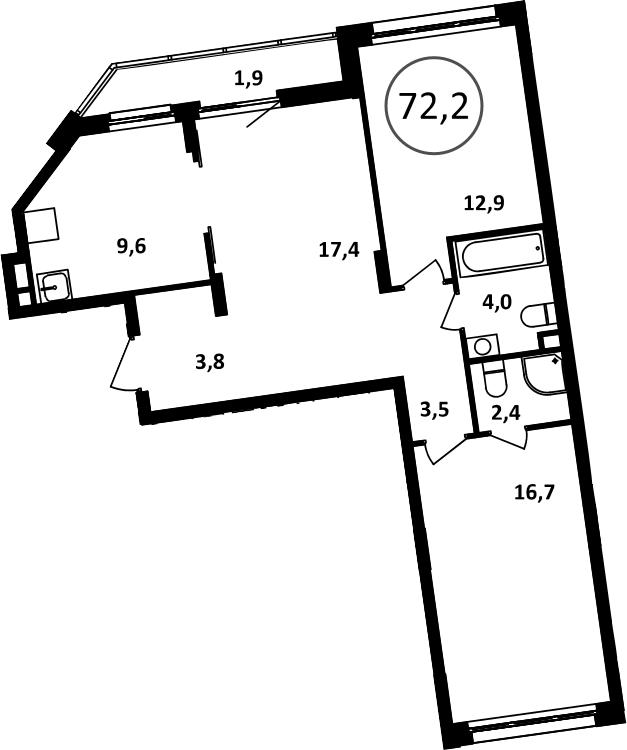3-к.кв, 74.1 м²