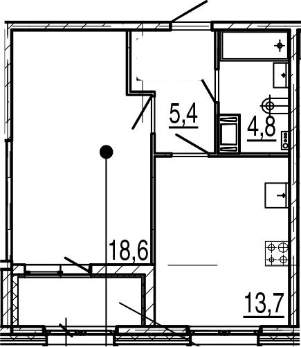 1-к.кв, 44.3 м², от 4 этажа