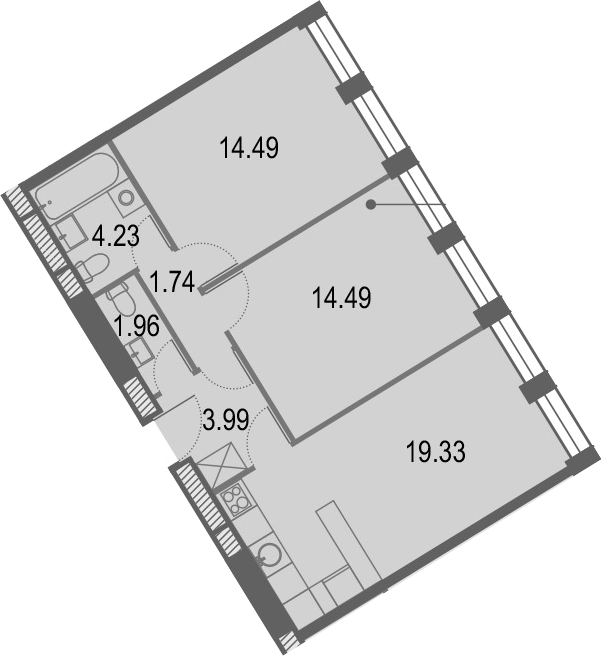 3Е-к.кв, 60.23 м², от 25 этажа